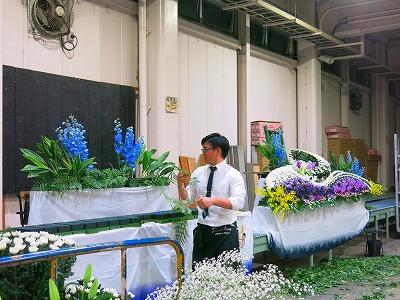 岐阜市場にて生花祭壇講習②